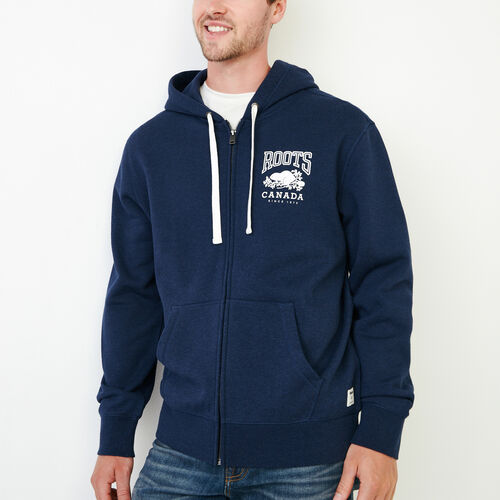 Roots-Men Our Favourite New Arrivals-Classic Full Zip Hoody-Navy Blazer Mix-A