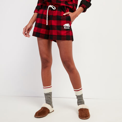 Roots-New For October Plaids-Park Plaid Lounge Short-Cabin Red-A
