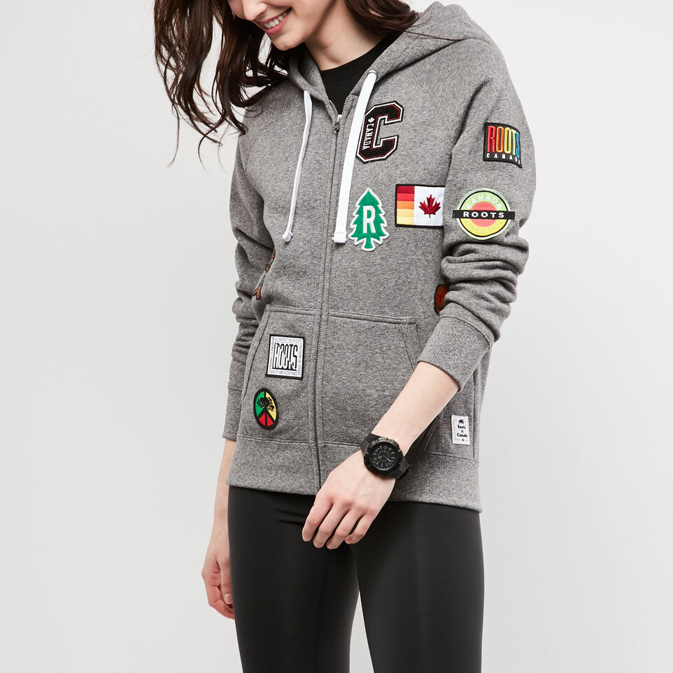 Roots-undefined-Womens Patches Original Full Zip Hoody-undefined-A