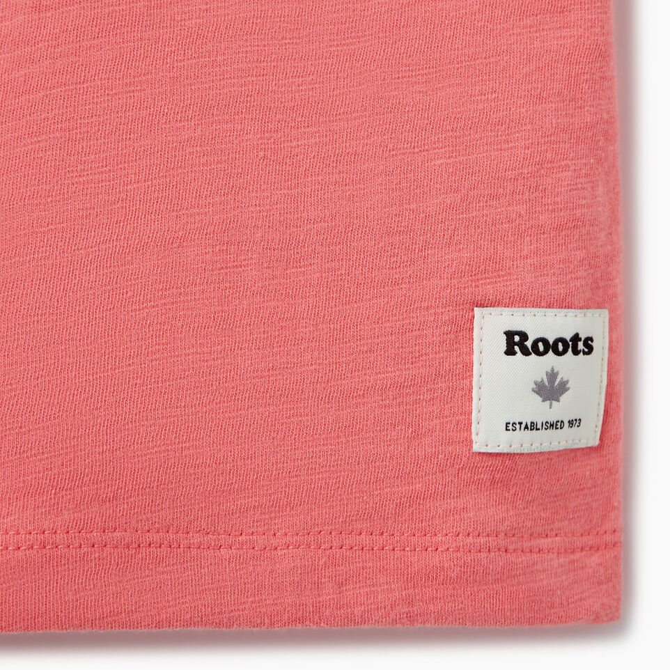 Roots-Kids Our Favourite New Arrivals-Girls Roots Script T-shirt-Coral-C