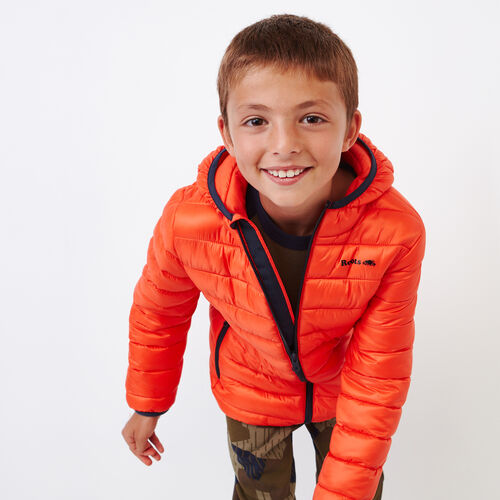 Roots-Kids Outerwear-Boys Roots Puffer Jacket-Spicy Orange-A