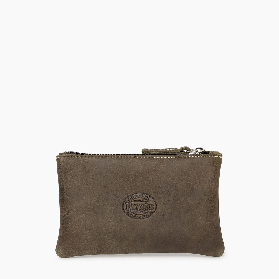 Roots-Leather Categories-Medium Zip Pouch-Pine-C