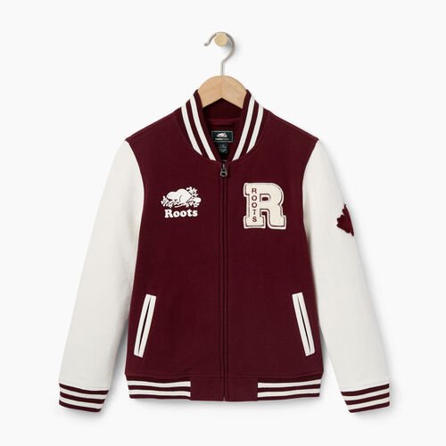 Roots-Kids Categories-Girls Alumni Varsity Jacket-Northern Red-A