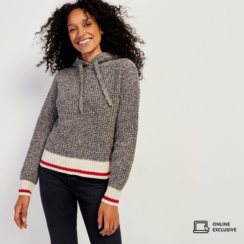 Roots-Women Sweaters & Cardigans-Roots Cotton Cabin Hoody-Grey Oat Mix-A