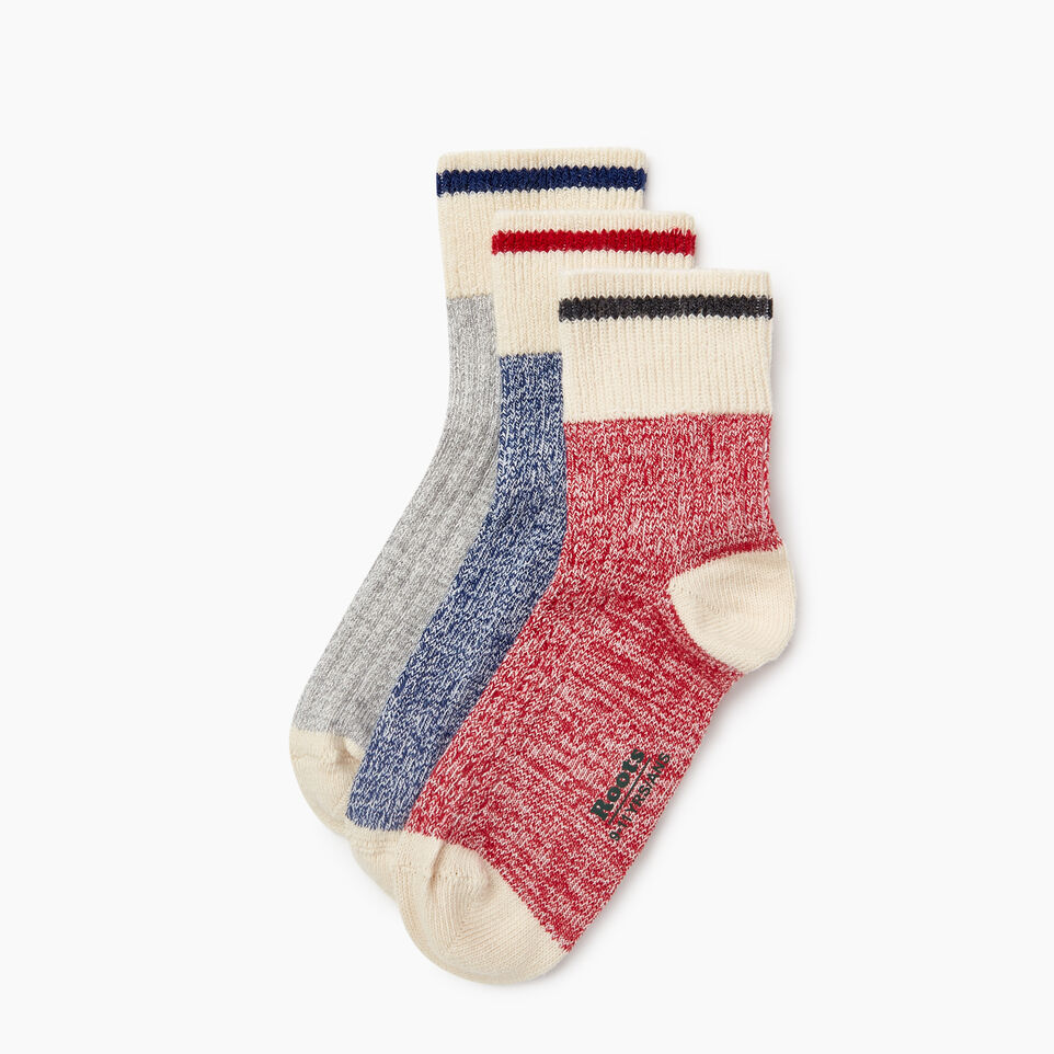Roots-Kids New Arrivals-Kids Cotton Cabin Ankle Sock 3 Pack-Navy-B