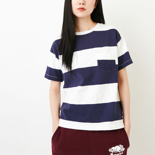 Roots-Women Tops-Fraser Stripe Top-Eclipse-A