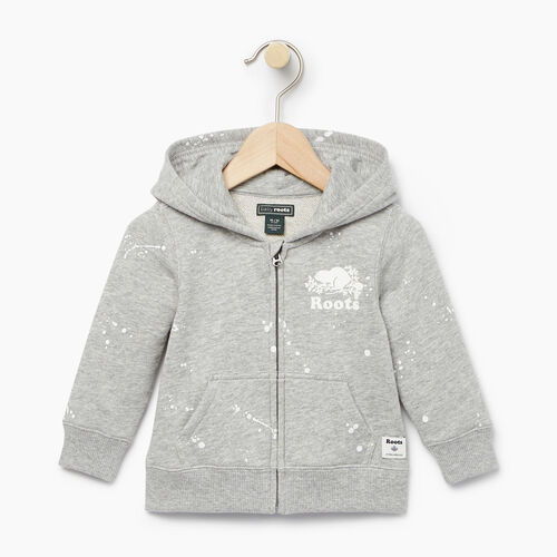 Roots-Clearance Baby-Baby Splatter Full Zip Hoody-Grey Mix-A