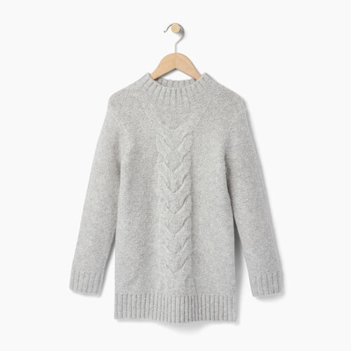 Roots-Clearance Kids-Girls Cable Knit Tunic Sweater-Grey Mix-A