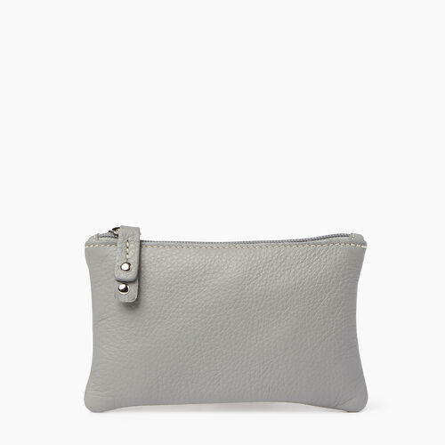 Roots-Leather  Handcrafted By Us Leather Accessories-Medium Zip Pouch Prince-Silverstone-A