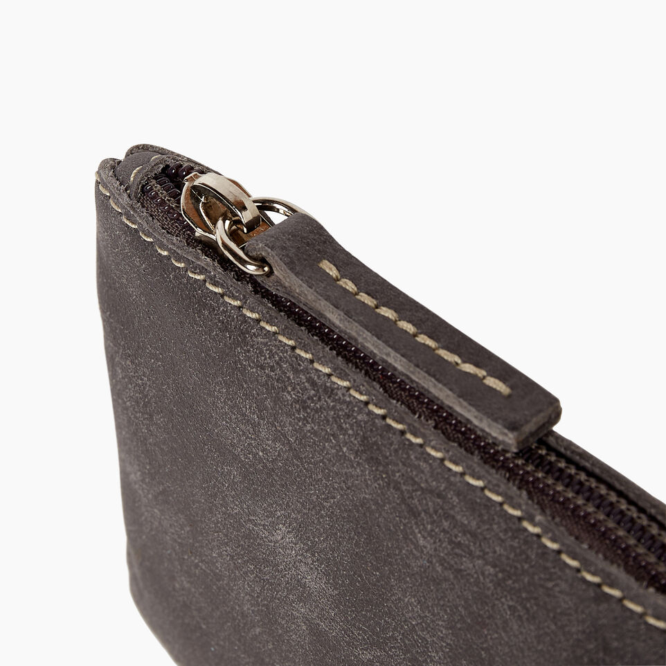 Roots-Leather Categories-Medium Zip Pouch-Charcoal-D