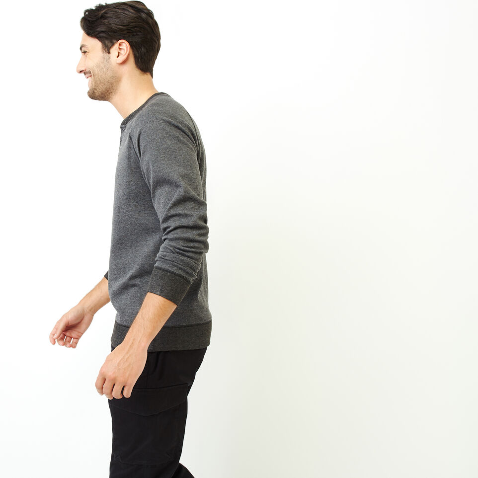 Roots-Men Our Favourite New Arrivals-Cozy Thermal Henley-Charcoal Mix-C