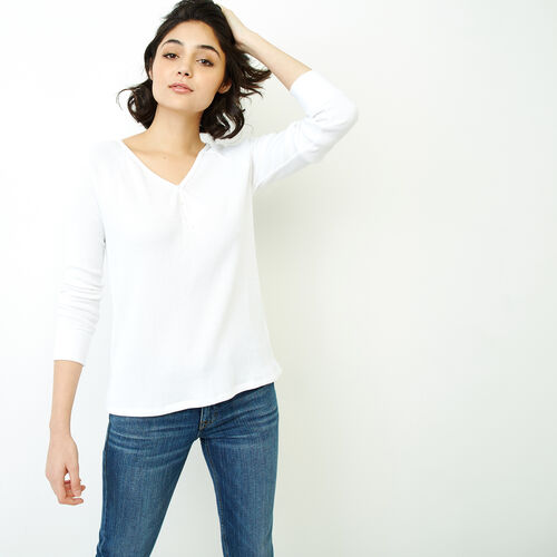 Roots-Women Tops-Kinuso Henley Top-Crisp White-A