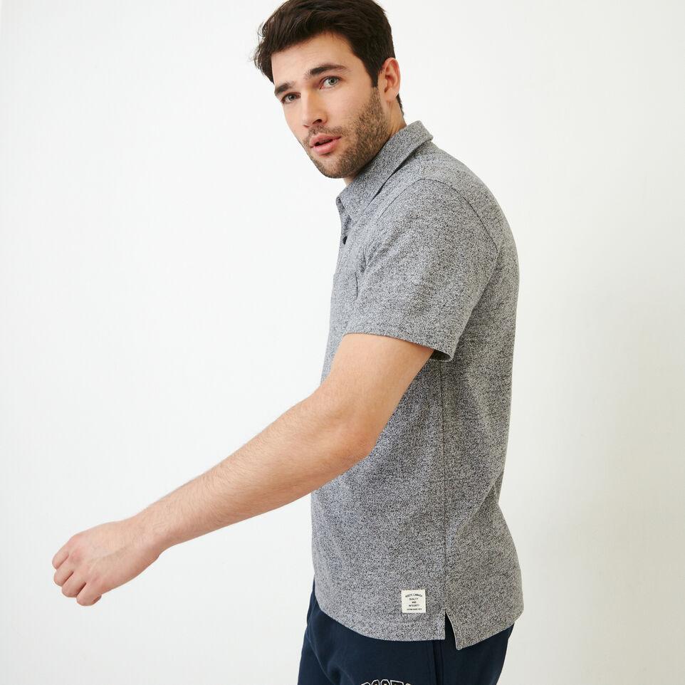 Roots-Men Shirts & Polos-Jersey Peppered Polo-Salt & Pepper-C