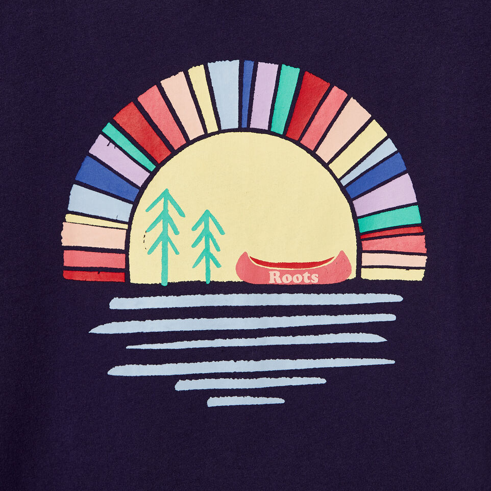 Roots-New For June Kids-Girls Camp T-shirt-Eclipse-D