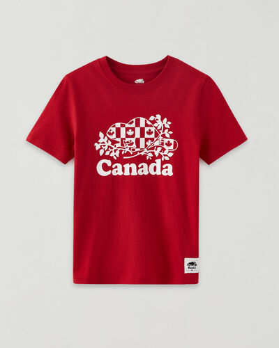 Roots-Kids Canada Collection-Boys Cooper Canada Flag T-shirt-Sage Red-A