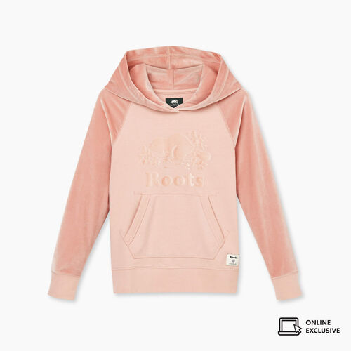 Roots-Kids New Arrivals-Girls Cooper Velour Logo Kanga Hoody-Pale Mauve-A