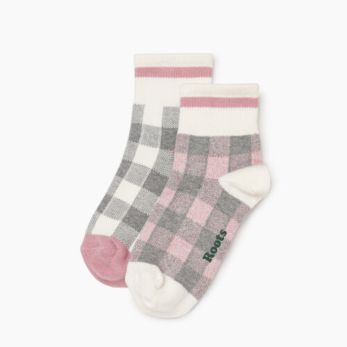 Roots-Women Socks-Park Plaid Ankle Sock 2 Pack-Pink Mix-A