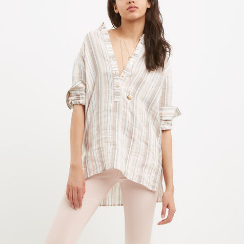 Roots-Women Tops-Renae Popover Shirt-Pale Blush-A