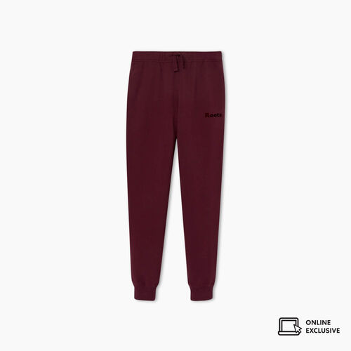 Roots-Kids New Arrivals-Girls Cooper Velour Logo Slim Sweatpant-Cabernet-A