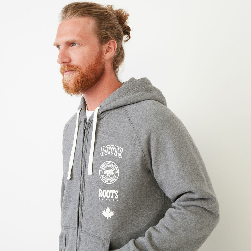 Roots-Men Our Favourite New Arrivals-Stamps Zip Hoody-Med Grey Mix-E