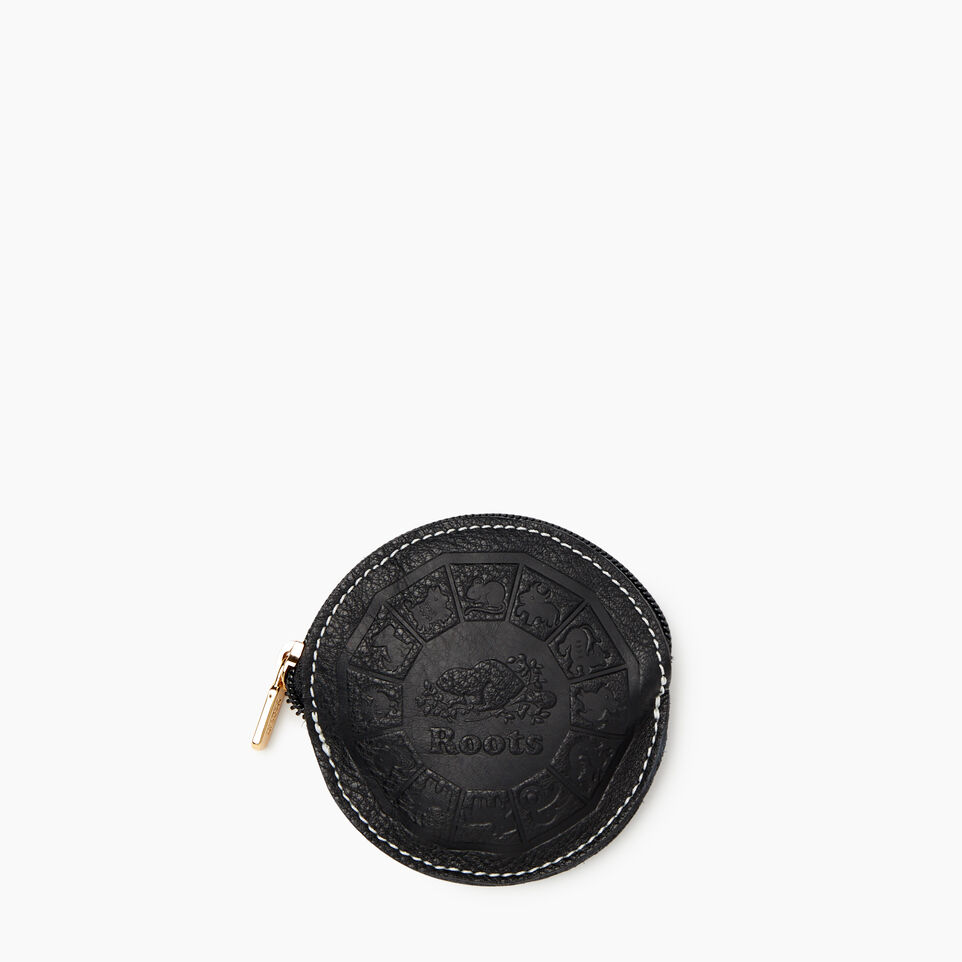 Roots-Women Leather Accessories-Zodiac Coin Pouch-Black-A