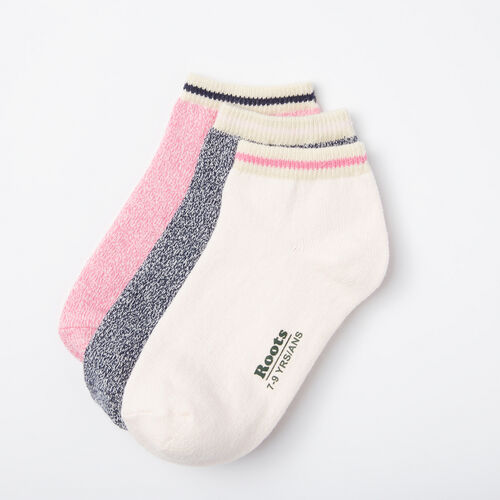 Roots-Kids Accessories-Kids Cabin Ped Sock 3 Pack-Happy Pink-A