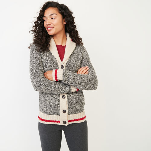 Roots-Women Categories-Roots Cabin Shawl Cardigan-Grey Oat Mix-A