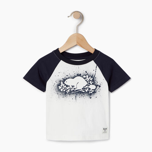 Roots-Clearance Kids-Baby Splatter Raglan T-shirt-Ivory-A