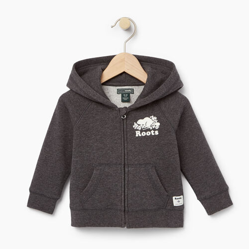 Roots-Clearance Kids-Baby Original Full Zip Hoody-Charcoal Mix-A