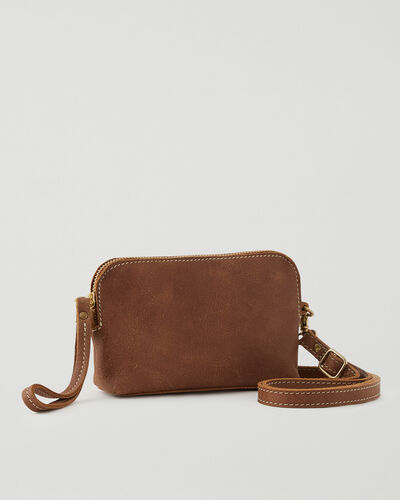 Roots-Leather Leather Bags-Christie Crossbody Tribe-Natural-A