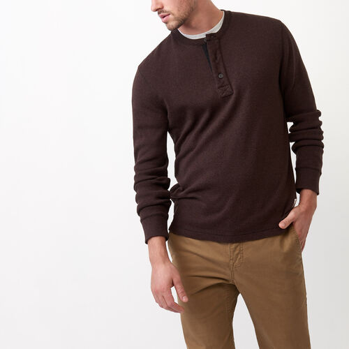 Roots-Men Tops-Heritage Killarney Henley-Grizzly Brown Mix-A
