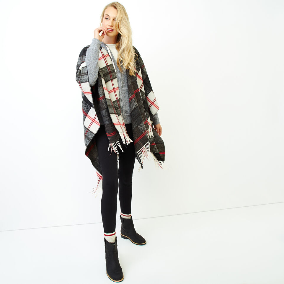 Roots-Women Our Favourite New Arrivals-Smoke Lake Plaid Wrap-Birch White-B