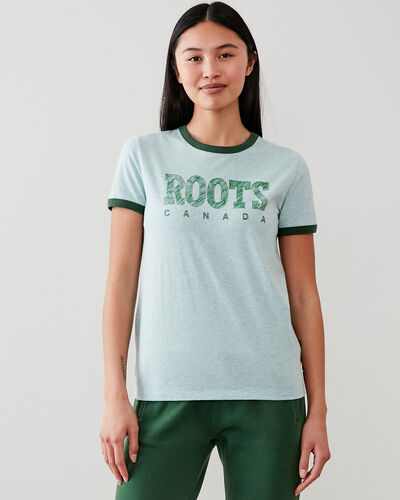 Roots-New For This Month Roots Retro-Womens Retro Ringer T-shirt-Camp Green Mix-A