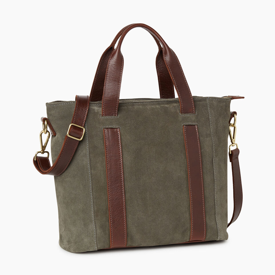 Roots-Women Clothing-Victoria Tote Suede-Fatigue-A