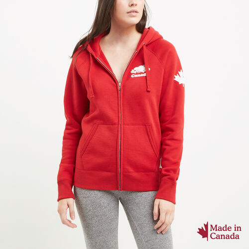 Roots-New For July Canada Collection By Roots™-Womens Cooper Canada Full Zip Hoody-Sage Red-A
