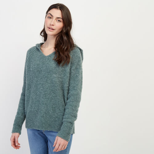 Roots-Women Sweaters & Cardigans-Beach Comber Sweater Hoody-North Atlantic-A