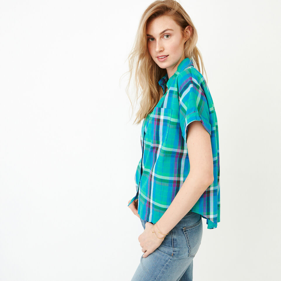 Roots-Women Categories-Alder Flat Madras Shirt-Sea Green-C
