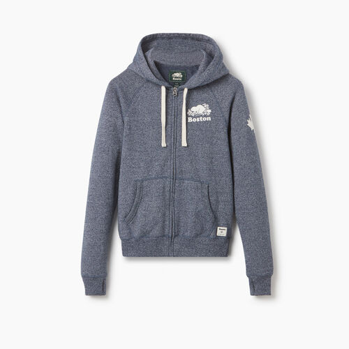 Roots-New For September City Collection-Boston Full Zip Hoody - Womens-Blue Iris Pepper-A