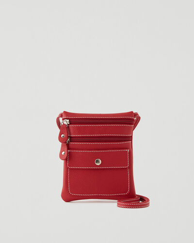 Roots-Leather New Arrivals-Hanging Pouch Cervino-Lipstick Red-A