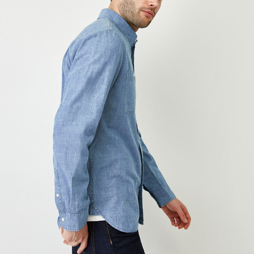 Roots-Men Our Favourite New Arrivals-Saltspring Work Shirt-Chambray Blue-C