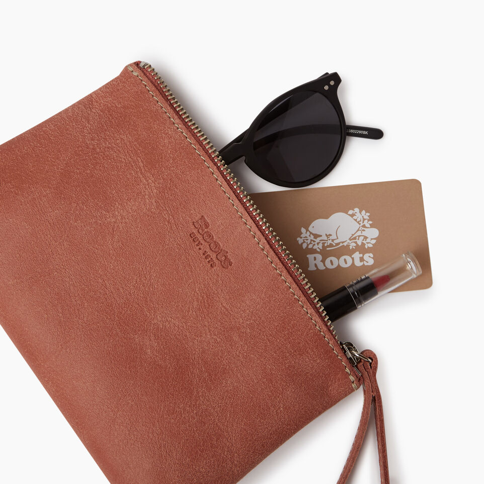 Roots-Leather Our Favourite New Arrivals-Wristlet Pouch-Canyon Rose-B