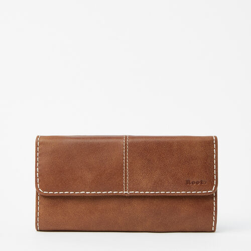Roots-Leather Women's Wallets-Medium Trifold Clutch Tribe-Natural-A