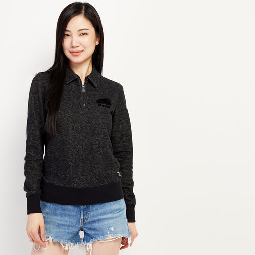 Roots-Women New Arrivals-Original Zip Polo-Black Pepper-A