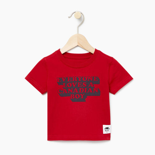 Roots-Sale Kids-Baby Canadian Boy T-shirt-Sage Red-A