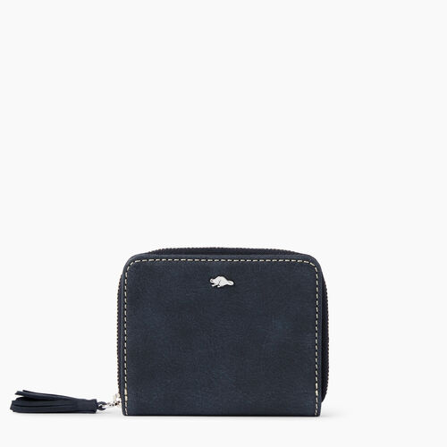 Roots-Leather  Handcrafted By Us Wallets-Small Tassel Wallet Tribe-Dark Navy-A