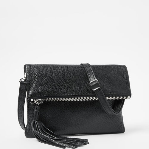 Roots-Leather Crossbody-Anna Clutch-Black-A