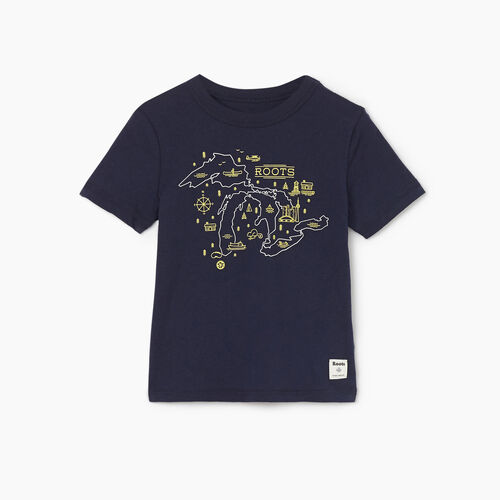 Roots-Kids Tops-Toddler Great Lakes T-shirt-Navy Blazer-A