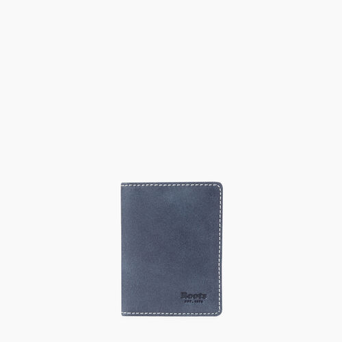 Roots-Leather Tribe Leather-Card Case With Id Tribe-Navy-A