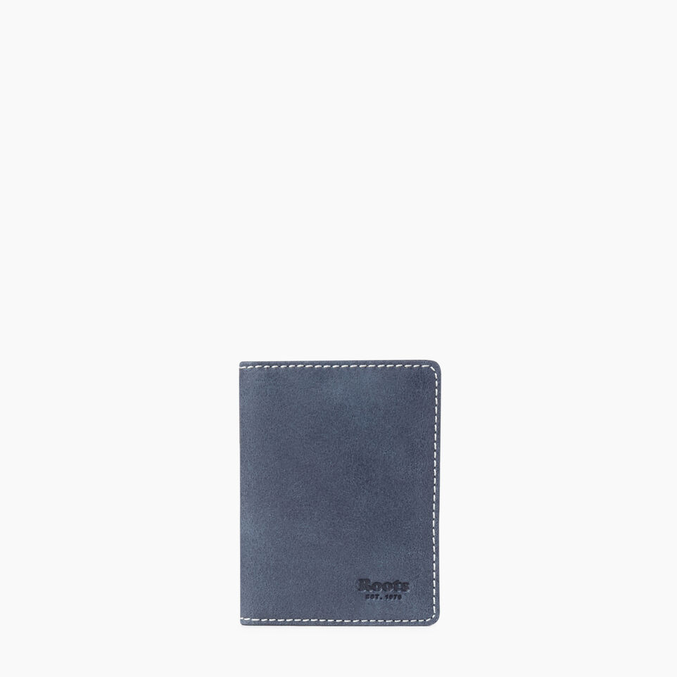 Roots-Leather Collections-Card Case With Id Tribe-Navy-A