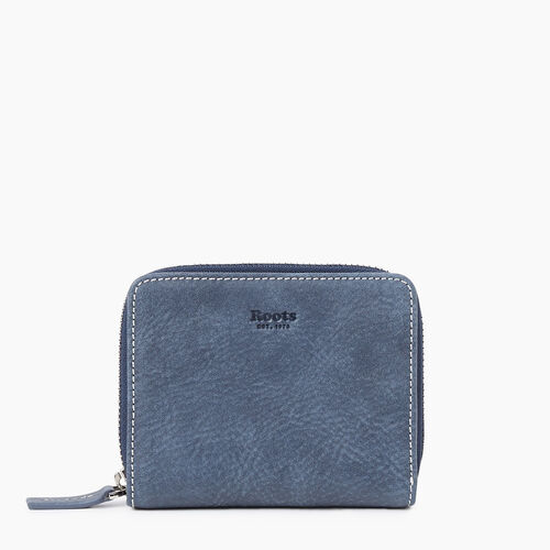 Roots-Leather New Arrivals-Small Zip Wallet Tribe-Navy-A